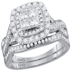 1.01 CTW Princess Diamond Cluster Halo Bridal Engagement Ring 14KT White Gold - REF-123H8M