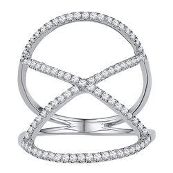 0.40 CTW Diamond Crisscross Crossover Ring 10KT White Gold - REF-25H4M