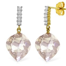 Genuine 25.75 ctw White Topaz & Diamond Earrings Jewelry 14KT Yellow Gold - REF-60T7A