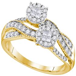 0.50 CTW Princess Diamond Soleil Cluster Bridal Engagement Ring 14KT Yellow Gold - REF-67X4Y