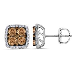 1.03 CTW Cognac-brown Color Diamond Square Cluster Earrings 14KT White Gold - REF-67K4W