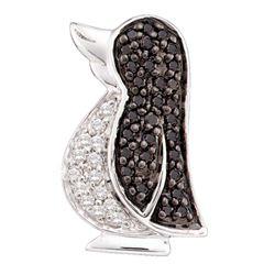 0.23 CTW Black Color Diamond Penguin Bird Animal Pendant 14KT White Gold - REF-20N9F
