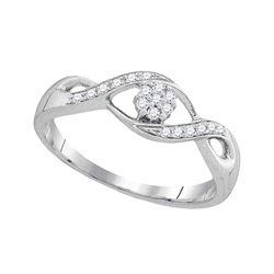 0.13 CTW Diamond Flower Cluster Ring 10KT White Gold - REF-9X7Y