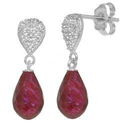 Genuine 6.63 ctw Ruby & Diamond Earrings Jewelry 14KT White Gold - REF-28A3K