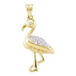 0.07 CTW Diamond Flamingo Bird Animal Pendant 10KT Yellow Gold - REF-16K4W