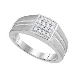 0.25 CTW Mens Diamond Matte-finish Square Cluster Ring 10KT White Gold - REF-33K8W