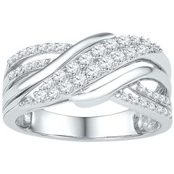 0.50 CTW Diamond Crossover Ring 10KT White Gold - REF-52N4F