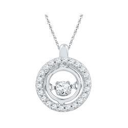 0.25 CTW Diamond Circle Moving Twinkle Pendant 10KT White Gold - REF-28M4H