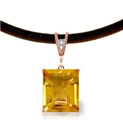 Genuine 6.51 ctw Citrine & Diamond Necklace Jewelry 14KT Rose Gold - REF-31Z6N