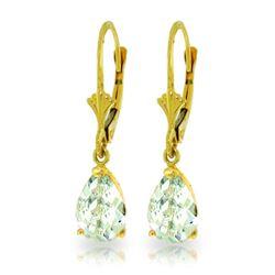 Genuine 2.85 ctw Aquamarine Earrings Jewelry 14KT Yellow Gold - REF-36P8H