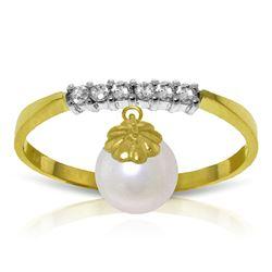 Genuine 2.1 ctw Pearl & Diamond Ring Jewelry 14KT Yellow Gold - REF-33N7R