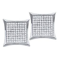 0.15 CTW Diamond Square Cluster Earrings 10KT White Gold - REF-8K9W