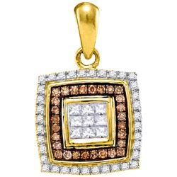 0.33 CTW Cognac-brown Color Diamond Square Pendant 10KT Yellow Gold - REF-22N4F