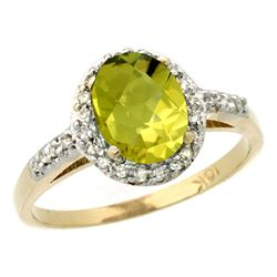 Natural 1.3 ctw Lemon-quartz & Diamond Engagement Ring 14K Yellow Gold - REF-31N7G