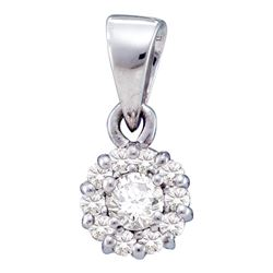 0.25 CTW Diamond Solitaire Circle Cluster Pendant 14KT White Gold - REF-20W9K