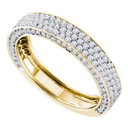 0.83 CTW Pave-set Diamond Edged Ring 14KT Yellow Gold - REF-79W4K
