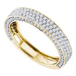 0.83 CTW Pave-set Diamond Edged Ring 14KT Yellow Gold - REF-79W4K