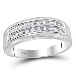 0.25 CTW Mens Diamond 2-row Wedding Anniversary Ring 10KT White Gold - REF-26F9N