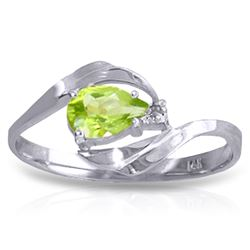 Genuine 0.41 ctw Peridot & Diamond Ring Jewelry 14KT White Gold - REF-26H6X
