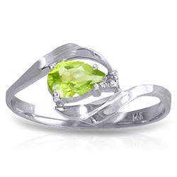 Genuine 0.41 ctw Peridot & Diamond Ring Jewelry 14KT White Gold - REF-26H6X