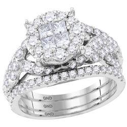 2 CTW Princess Diamond Soleil Bridal Engagement Ring 14KT White Gold - REF-194M9H