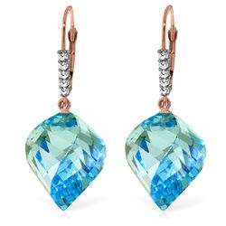 Genuine 28 ctw Blue Topaz & Diamond Earrings Jewelry 14KT Rose Gold - REF-87P7H
