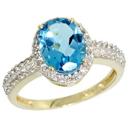 Natural 1.91 ctw Swiss-blue-topaz & Diamond Engagement Ring 14K Yellow Gold - REF-41X3A