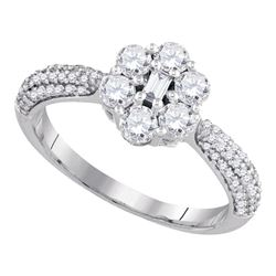 0.99 CTW Diamond Cluster Ring 10KT White Gold - REF-75W2K