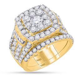 3.98 CTW Diamond Bridal Wedding Engagement Ring 14KT Yellow Gold - REF-442X4Y
