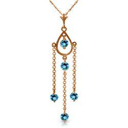 Genuine 1.50 ctw Blue Topaz Necklace Jewelry 14KT Rose Gold - REF-29A7K