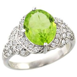 Natural 3.3 ctw peridot & Diamond Engagement Ring 14K White Gold - REF-107H3W