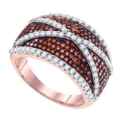 1 CTW Red Color Diamond Crisscross Cocktail Ring 10KT Rose Gold - REF-49M5H