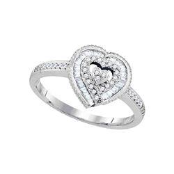 0.24 CTW Diamond Heart Love Ring 10KT White Gold - REF-26Y9X