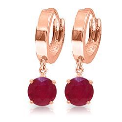 Genuine 2.5 ctw Ruby Earrings Jewelry 14KT Rose Gold - REF-33K6V