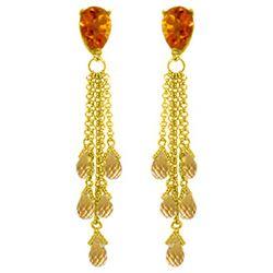 Genuine 15.5 ctw Citrine Earrings Jewelry 14KT Yellow Gold - REF-51V8W