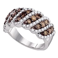 1.5 CTW Cognac-brown Color Diamond Ring 10KT White Gold - REF-104X9Y
