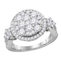 2 CTW Diamond Cluster Bridal Engagement Ring 14KT White Gold - REF-199X4Y