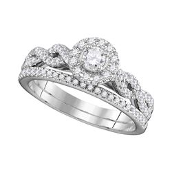 0.51 CTW Diamond Halo Bridal Ring 14KT White Gold - REF-75X2Y