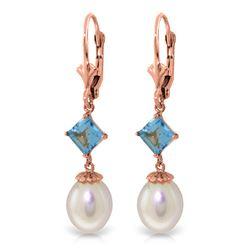 Genuine 9.5 ctw Blue Topaz Earrings Jewelry 14KT Rose Gold - REF-24N4R