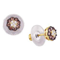 0.50 CTW Cognac-brown Color Diamond Cluster Earrings 14KT Yellow Gold - REF-37Y5X