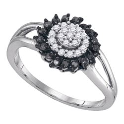 0.25 CTW Black Color Diamond Cluster Ring 10KT White Gold - REF-18F2N