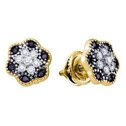 0.27 CTW Black Color Diamond Flower Cluster Stud Earrings 10KT Yellow Gold - REF-20N9F