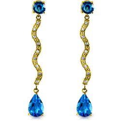 Genuine 4.35 ctw Blue Topaz & Diamond Earrings Jewelry 14KT Yellow Gold - REF-62H3X