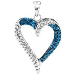 0.20 CTW Blue Color Diamond Heart Pendant 10KT White Gold - REF-14W9K
