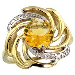 Natural 2.25 ctw citrine & Diamond Engagement Ring 14K Yellow Gold - REF-57N8G