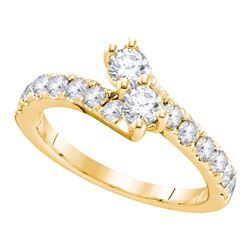 0.75 CTW Diamond 2-stone Hearts Together Bridal Ring 14KT Yellow Gold - REF-82Y4X