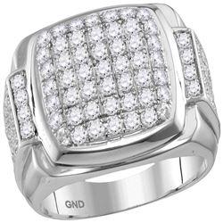 2.65 CTW Mens Diamond Square Symmetrical Cluster Ring 10KT White Gold - REF-178M4H