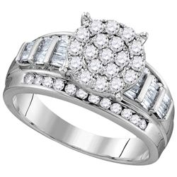 0.97 CTW Diamond Cluster Bridal Engagement Ring 10KT White Gold - REF-61K5W