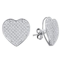 0.50 CTW Diamond Heart Love Cluster Earrings 10KT White Gold - REF-37N5F