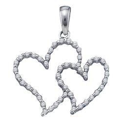 0.16 CTW Diamond Double Heart Outline Pendant 10KT White Gold - REF-11X2Y